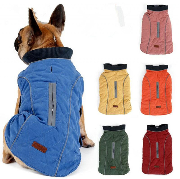 Dog Clothes Quilted Dog Coat Water Repellent Winter Dog Pet Jacket Vest Retro Cozy Warm Pet Outfit Clothes Big Dogs MMA1283
