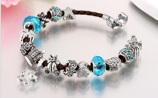 20cm 925 Sterling Silver Crystal Crown Beads Flower Dangle European Charm Beads Flower Family Stopper Beads Fits Pandora Diy Charm bracelets