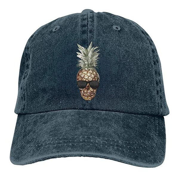 2019 New Custom Baseball Caps Print Hat Pineapple Skull Mens Cotton Adjustable Washed Twill Baseball Cap Hat
