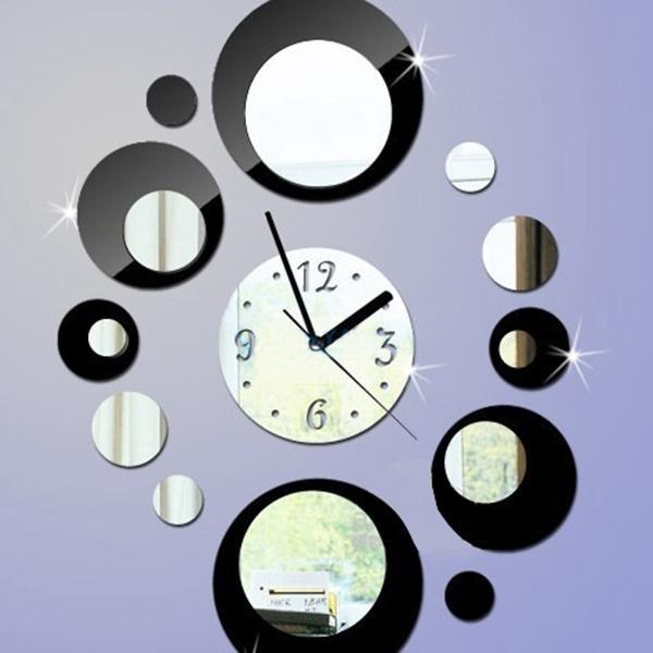 Mirror Wall Clock Circles Black Silver DIY Clock Movement Home Decor Mirror Wall Design Modern Bed Effect