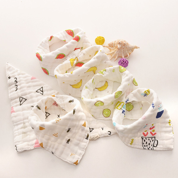 best selling Baby Bibs Cartoons INS Bibs Burp Cloths Foral Printed Cotton 8 layer bibs Bandana Infant Saliva cloth Triangle Towel 15styles GGA2024
