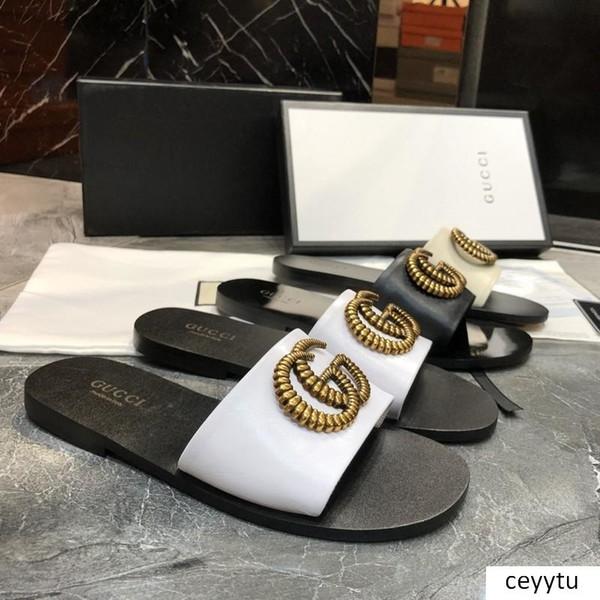 iduzi delle donne di marca dei sandali di grande formato 35-42 dei progettisti dei pattini diapositive Estate ampio appartamento Slippery Sandals Slipper ex spiaggia infradito pantofola