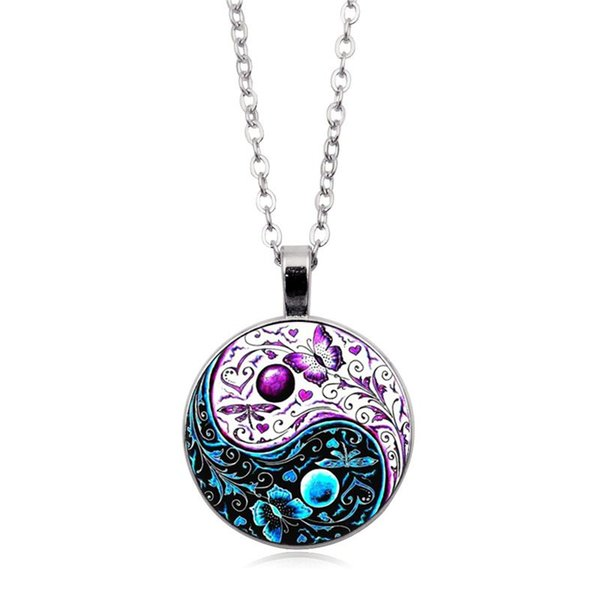 Necklace Ying Yang Butterfly Photo Tibet Silver Cabochon Glass Pendant Chain Necklace