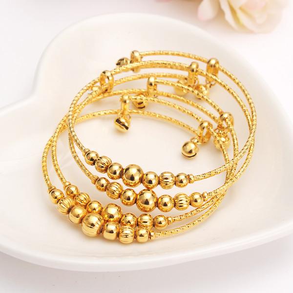 12 piezas dubai india pulsera con dijes para mujer cuentas de oro brazalete campana linda niños niñas mujeres joyería de cadena de mano tobilleras regalo árabe