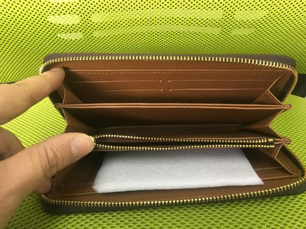 Kostenloser Versand! Mode Männer Frauen Kupplung Echtes Leder Geldbörse mit Box 60015 60017