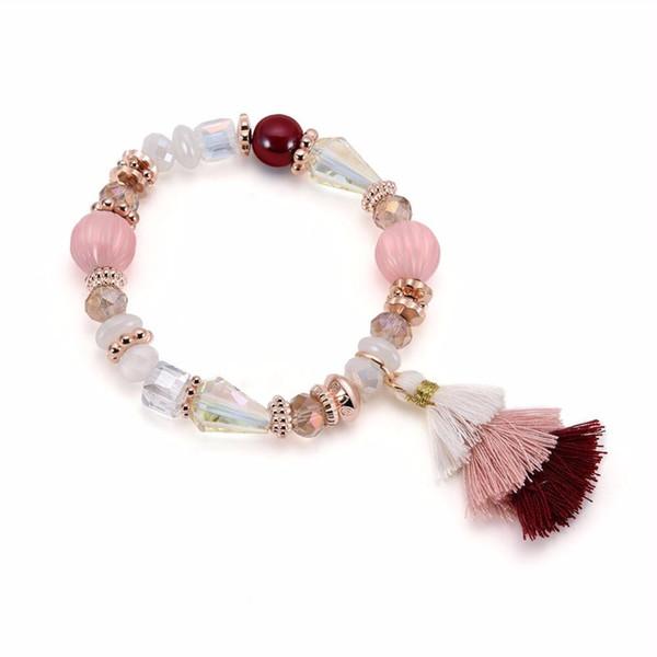 Senden Sie Liebe Armband / Armreif für Frau Bohemian weißen Kristall Armband Quaste beliebte Perlen Schmuck Valentine Geburtstagsgeschenke