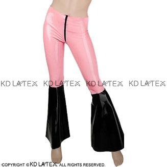 Baby Pink With Black Bottom Sexy Latex Leggings With Flared Legs Rubber Bell Bottom Pants Trousers 0027