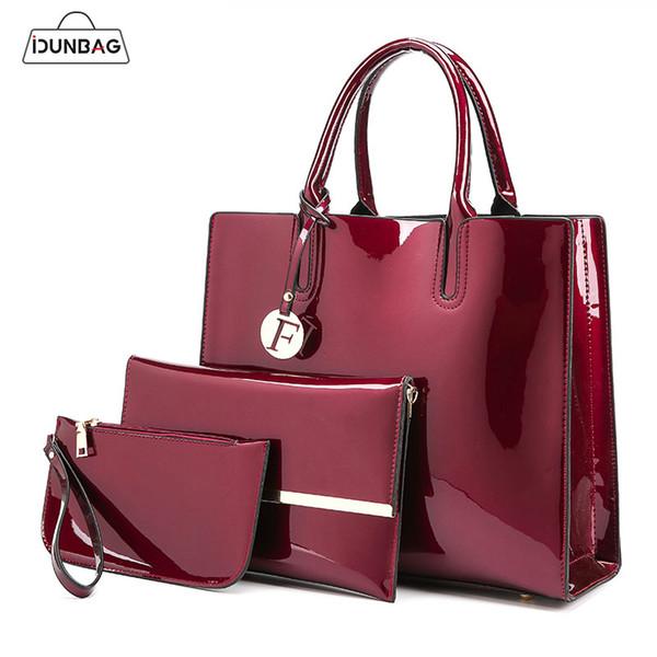 3 Sets High Quality Patent Leather Women Handbags Luxury Brands Tote Bag+Ladies Shoulder Messenger crossbody bag+Clutch Feminina
