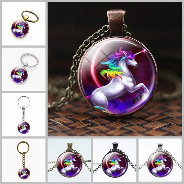 For Men Women Charm Chain Necklaces Round Time Gemstone Glass Key Chain Metal Unicorn Horse Pattern Pendant Electroplate 1 3dn BB