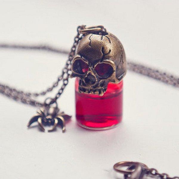 Rinhoo Charms Anhänger Glas Halskette Für frauen Paar Charakter Schmuck Geschenk Halloween Streich Halskette Gothic Retro Blutflasche