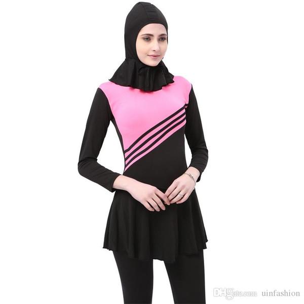 Muslim Swimwear Women New Long Sleeve Swimsuit Modesty Style Muslim Swim Islamic Wear Striped Bathing Suit With Hat