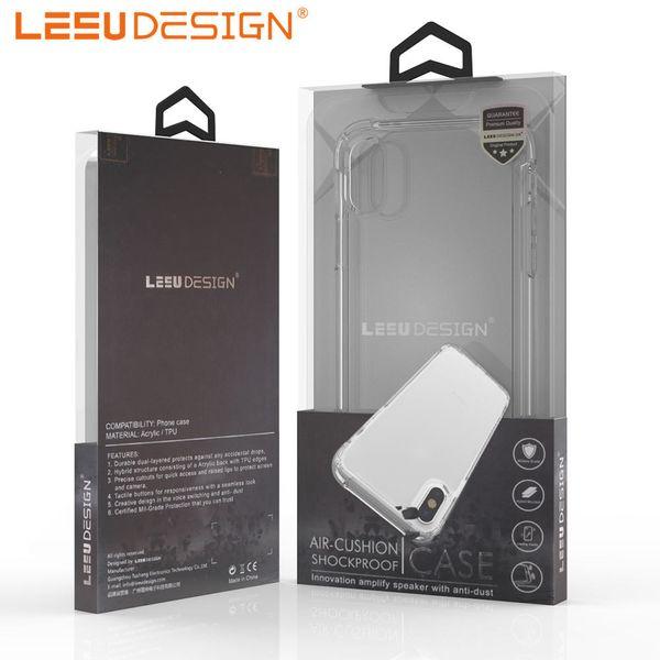 LEEU DESIGN luxury anti shock TPU clear cell phone case cover for iphone xr xs max x 8 7 6 6s plus samsung galaxry s9 s10 lite plus p30 pro