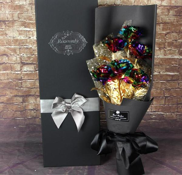24 K Plateado Rosa flor ramo romántico día de San Valentín amante amigo mejor regalo 6 unids 1set flor artificial ramo LJJK1183