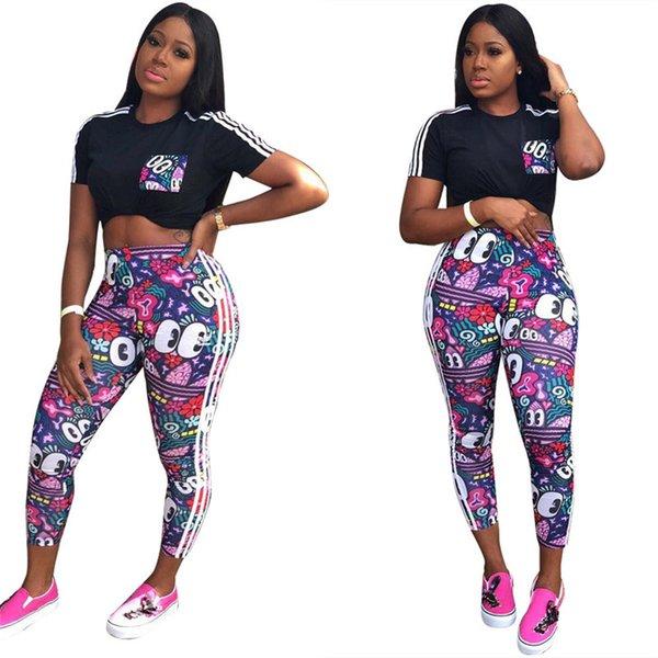 Kadınlar Tasarımcı Eşofman Yaz Marka T Gömlek + Pantolon Tayt İki Adet Kıyafetleri Lüks Üç Çizgili Spor Takım Elbise Koşu Seti C61703