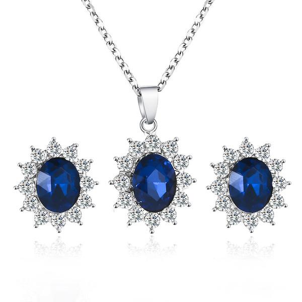 Modyle Yeni Sıcak Moda Gelin Düğün Ziyafet Lüks Oval Mavi Avusturyalı Kristal Kolye Kolye / Küpe Kadınlar Takı Seti Için