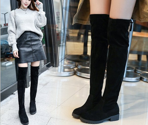 knight boots female europe and the united states low with solid color sleeve women's boots autumn suede warm long tube women's boots manufac