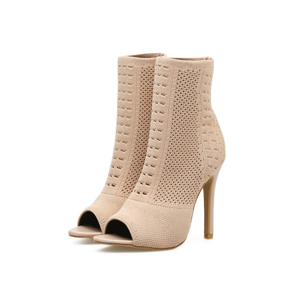 Autumn Shoes Women Open Toe Boots Women Knit High Heels Elastic Classic All Match Fashion Female Plus Size Comfortable