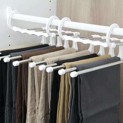 Pantalon rack pliant noir / blanc multifonctionnel multi-fonctionnel étagères 5 en 1 garde-robe Magic Hanger