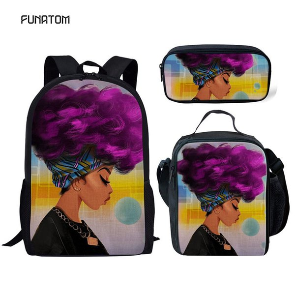 Children School Bags for Kids Black Girl Magic Afro Lady Printing School Bag Teenagers Shoulder Book Bag Mochila