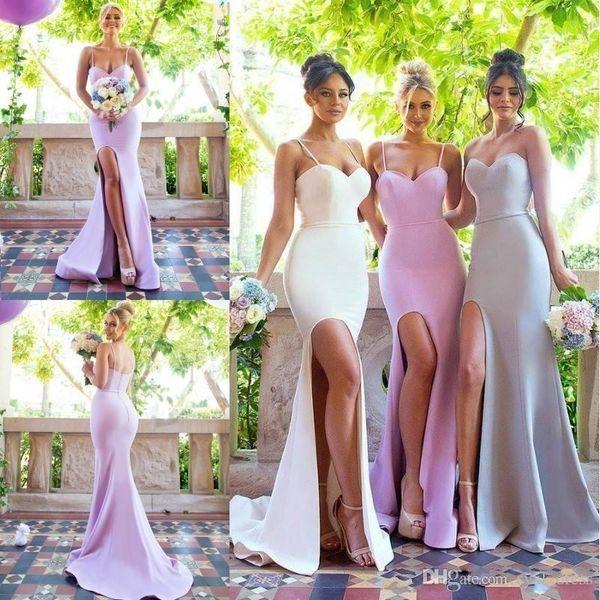 2019 New Design Simple Mermaid Bridesmaids Dresses for Summer Beach Garden Weddings Spaghetti Strap Long Wedding Guest Gowns robes de soirée