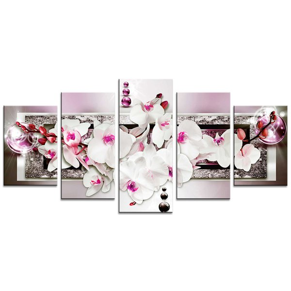 Unframed 5 Pieces Butterfly Orchid Flower Art Print Canvas Painting Contemporary Wall Picture Home Decor for Living Room Decoration