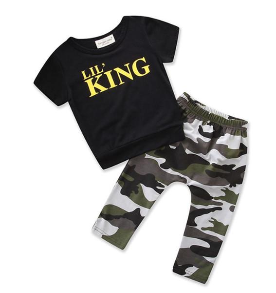 Bimbo Outfits lettera di bambini delle parti superiori del camuffamento dei pantaloni 2pcs insiemi dei bambini copre gli insiemi dei capretti di estate vestiti 2 disegni YW2562