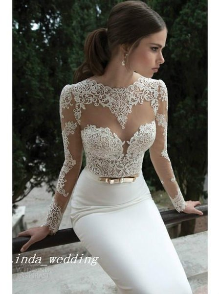 Free Shipping Trumpet Mermaid Long Sleeves Satin Sweep Brush Train Lace Backless Wedding Dresses Bridal Gown