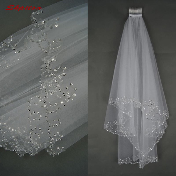 White Or Ivory Short Wedding Veil With Crystal Edge With Comb 2 Beaded Bride Bridal Veils C19041101