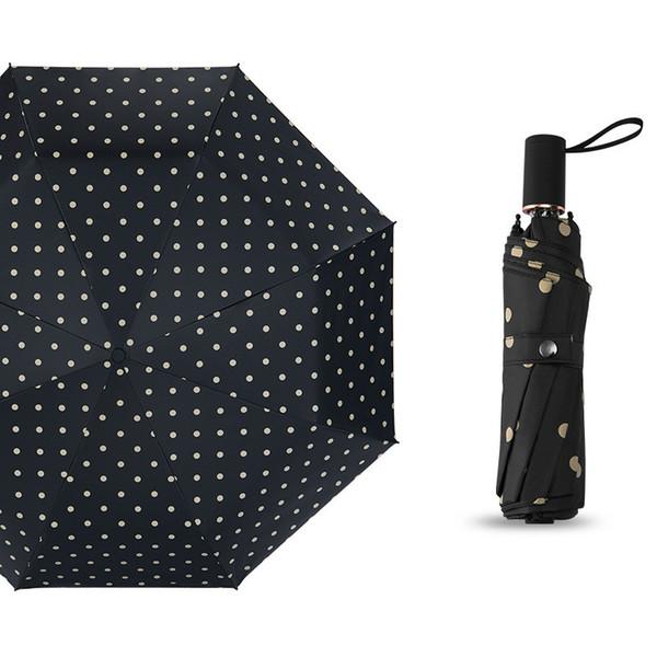 Mode créative femmes Point vague parapluie ensoleillé à double usage Parasol trois fois Petit frais ensoleillé et pluvieux Umbrella