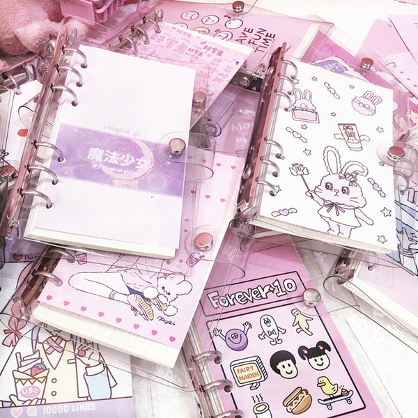 School Student Originality Lovely Girl Heart Pig Girl Transparent Hand Account Book Plan Notebook Loose-leaf Diary Notepad