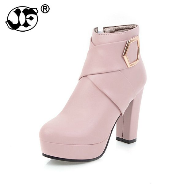 2018 Plus Size 34-43 Platform Women Shoes Woman Fashion High Heels Black Pink Beige Zip Up Ankle Boots Winter 856