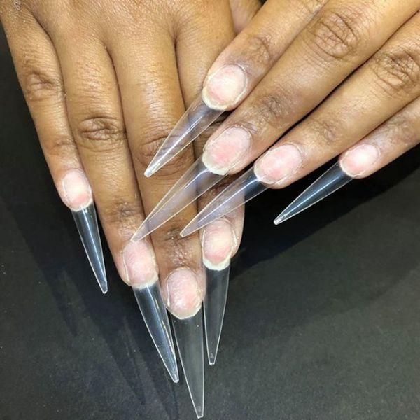 600pcs / set supplémentaire Long Point acrylique Stiletto faux ongles Conseils Salon Gel demi-couverture Astuce Nails