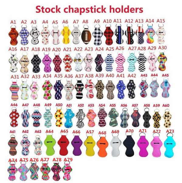 best selling Customized Pattern Printing Chapstick Holder Keychain Neoprene Handy Lip Balm Holder Lipstick Tracker Holder Party Favors Novelty Gifts