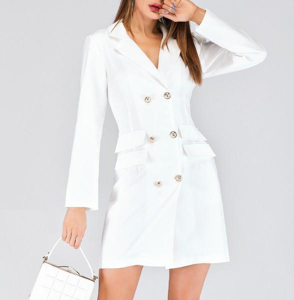 desgaste trespassado tecidos terno casaco gola do vestido das mulheres é a nova Europa e os Estados Unidos durante a primavera e outono 2020
