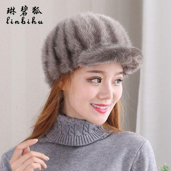 New 100% Real Whole Mink Fur Bomber Hats Cute Stiped Fur Visors Mink Fur Caps for Women Real Leather Winter Mink Hat Visors D19011503