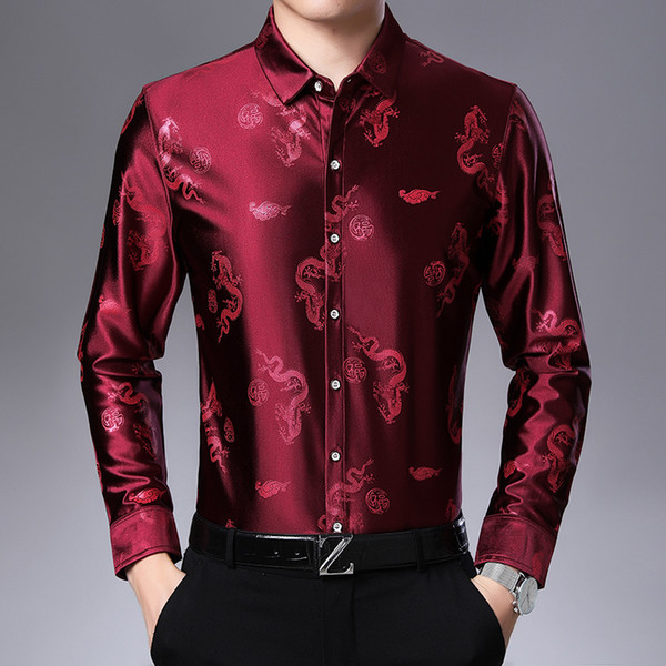 Camisa de seda Camisas de manga larga para hombre Primavera Otoño Camisa floral con estampado de grulla de dragón informal