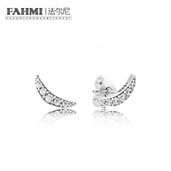 FAHMI 100% 925 Sterling Silver 297569CZ Lunar Light Earring Studs Original Women's Winter Fashion Gift Jewelry