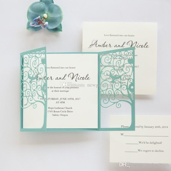 Elegant Blue Shimmy Wedding Invitation Card 2019 Sweet Birds Bridal Shower Invites Customized Personalized Printing With Envelope Free Ship Wedding