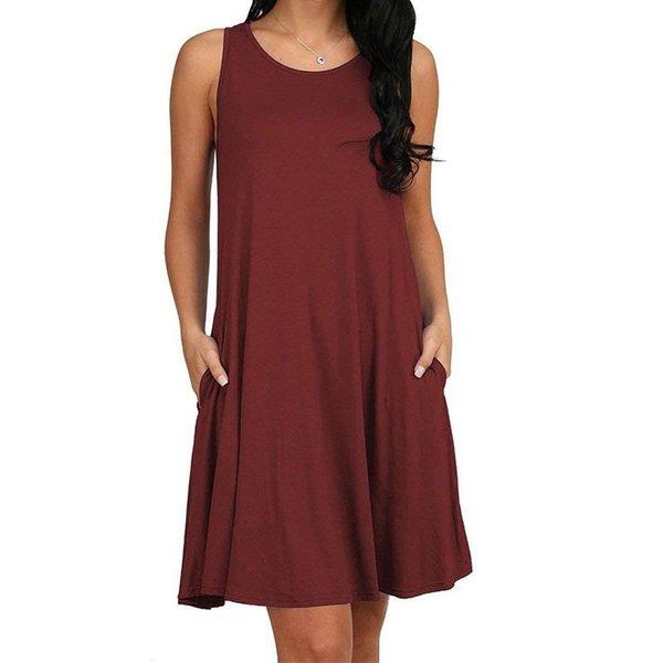 Şarap kırmızı elbise