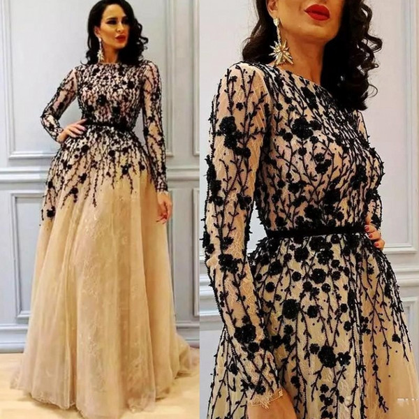 Elegant Long Sleeves Evening Dresses Jewel Neck Lace Appliques A Line Tulle Mother Of The Bride Vestidos Custom Made Plus Size Prom Dress