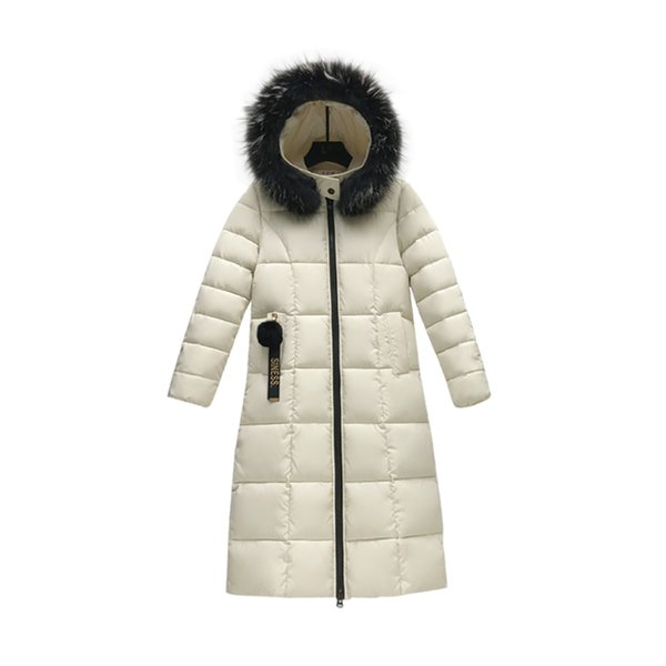 4XL Big Size White Long Jacket Women 2019 Fashion Big Fur Collar Warm Thicken Cotton Padded Down Parkas Female Top Clothing Coat