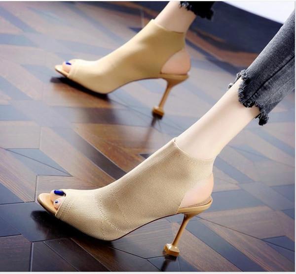 Sapatos de boca de peixe europeus e americanos sandálias dos pés abertos feminino verão novo bem com malha elástica elástica Roman botas de salto alto