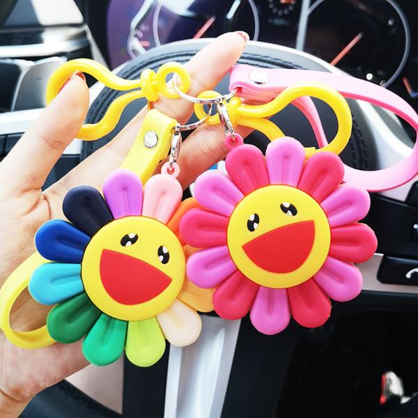 Giapponese Murakami sette colori catena chiave creativa degli uomini e borsa piccolo ciondolo sole fiore huachenyu stessi accessori delle donne