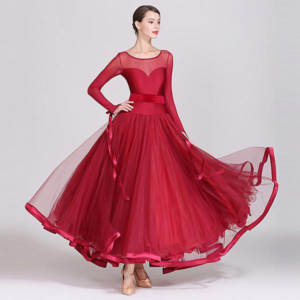 2019 New Ballroom Dance Competition Dresses Standard Dance Dress Women Waltz Dresses Ballroom Dress Fringe Wear DQS2173