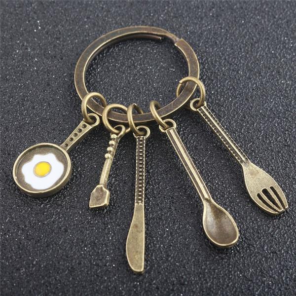 Mode Creative Cuisine Outils Chef Cadeau Porte-clés Bronze Soupe Cuillère Couteau Fourchette Oeuf Pendentif Pendentif Porte-clés Maman Femmes Fête Des Mères Porte-clés