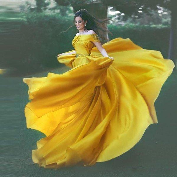 Charming Yellow Elegant Evening Formal Dresses 2019 Off-Shoulder Prom Dress Diamond Sash Evening Dresses Crystal Beaded robes de soirée
