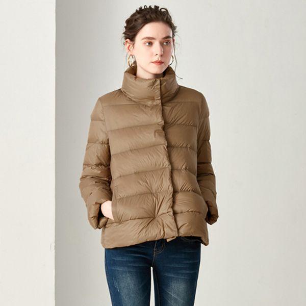 women Navy/creamy-white/Dark gray Ultra Light Down Jacket 95% Jackets Long Sleeve Warm Slim Coat Parka Female Solid Outwear