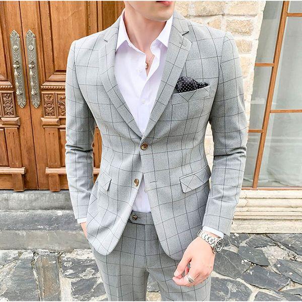 2019 Fashion New Men's Suit Black Gray Cool Handsome Plaid Suit with Pant Plus Size 5XL Casual Slim Fit Autumn Jackets Man