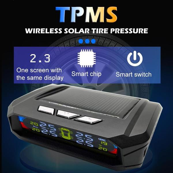 4 sensori AN-06A Auto auto solare sistemi di sicurezza della pressione dei pneumatici TPMS Temperatura Pressione gomma auto Sistema di monitoraggio