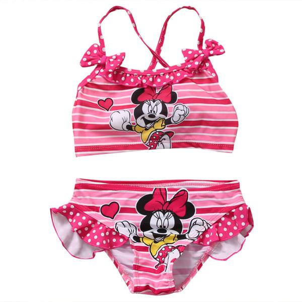 2018 Summer Pink Cute Sweet Lovely Baby Girls 2pcs Tankini Bikini Set Traje de baño Traje de baño Traje de baño Ropa de playa CALIENTE